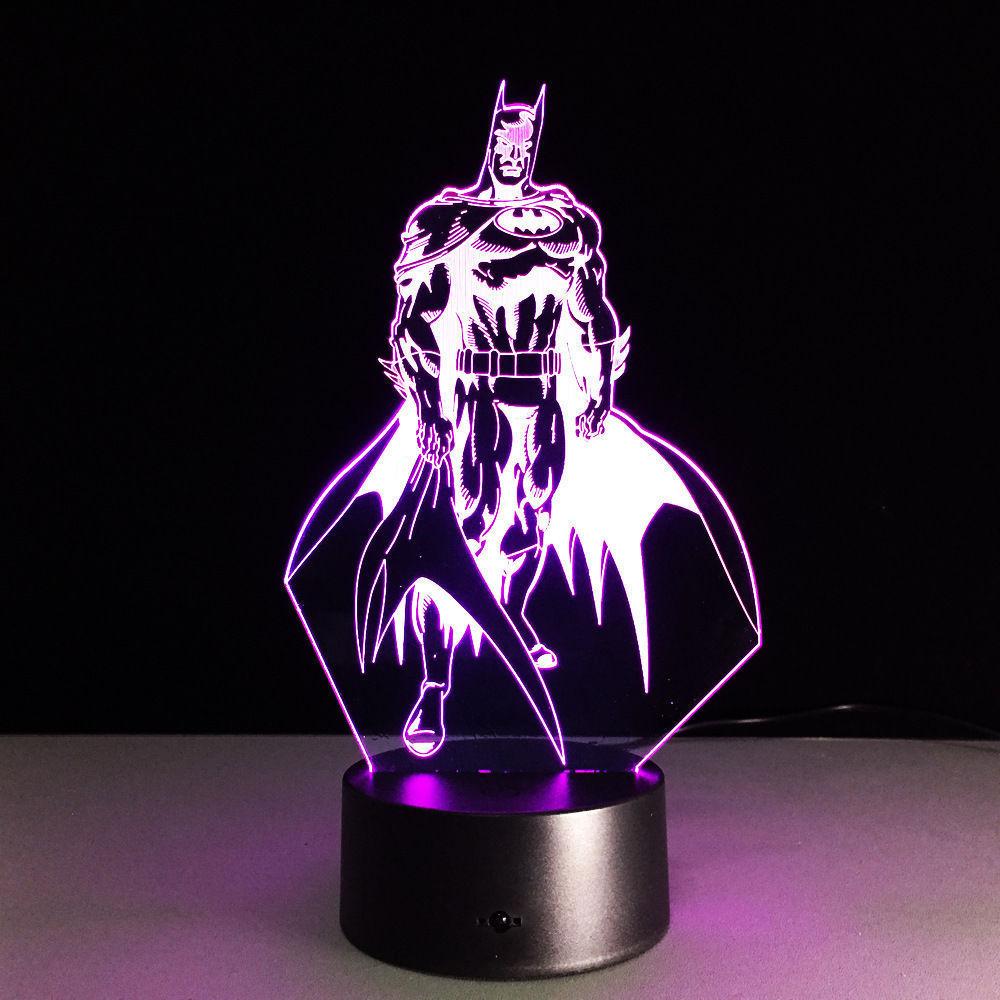 3D иллюзия Лампа Бэтмен Темный рыцарь 3D Иллюзия ночник 7 цветов Изменение светодиодные лампы подарки WG