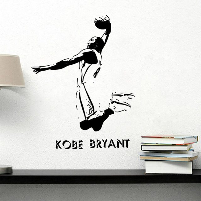 Kobe Bryant Poster Decal Sports Wall Stickers NBA Basketball Player Wall  Stickers DIY Art Home DecoR Bedroom Wallpaper Y 110