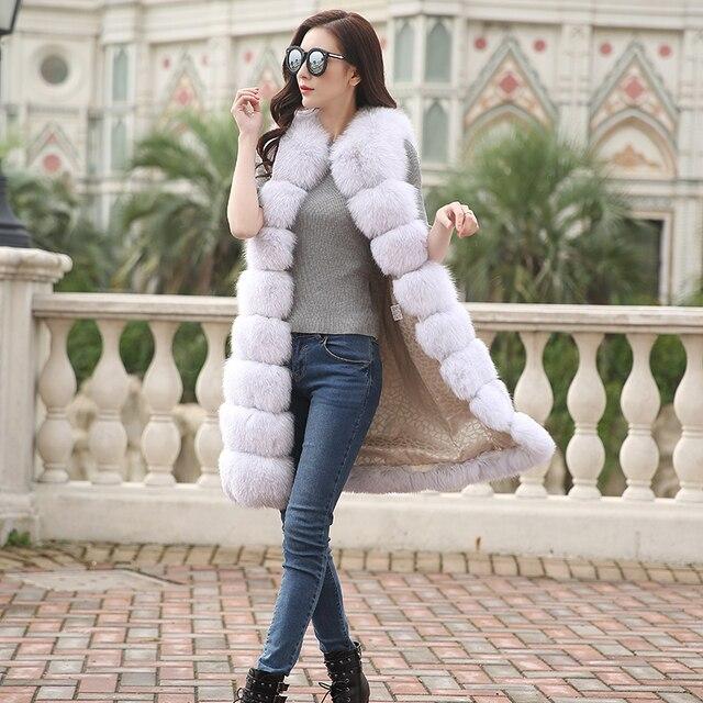 2016 Новых полная кожа имитация фокс меховой жилет X-Long горизонтальная полоса тонкий жилет верхняя одежда женщин