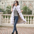 2016 New full leather imitation fox fur vest X-Long horizontal stripe slim vest outerwear women