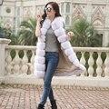 2016 Nueva imitación de piel de zorro de cuero completo chaleco Largo franja horizontal chaleco delgado prendas de vestir exteriores de las mujeres