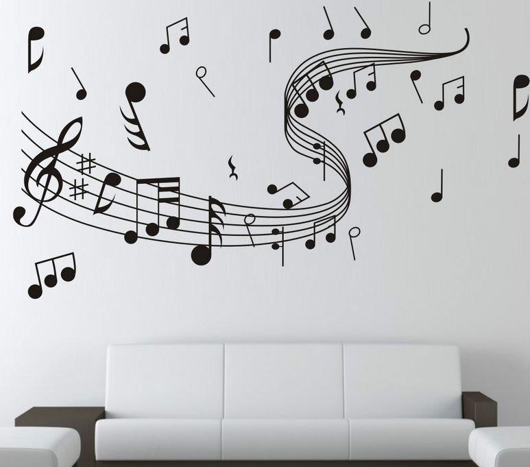 Музыкальные ноты стены Стикеры танцевать на ветру нотный Наклейки на стену Домашний Декор музыкальный магазин классе моды DIY 7zcx261