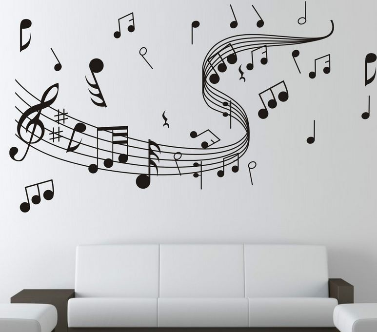Musical Notes Wall Sticker Dance in the Wind Music Notation Wall Stickers Home Decor Music Shop Classroom Fashion DIY 7zcx261