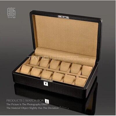 Mode noir 12 oreiller haute qualité en bois véritable montre boîte montre boîte de rangement montre organisateur bijoux boîtes de rangement SBH016a