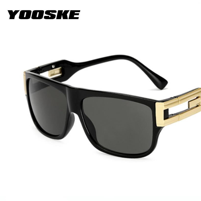 YOOSKE Retro Square Sunglasses Men Vintage Brand Designer Sun Glasses Male Celebrity Hip-Hop Glasses Female Big Frame Eyeglasses