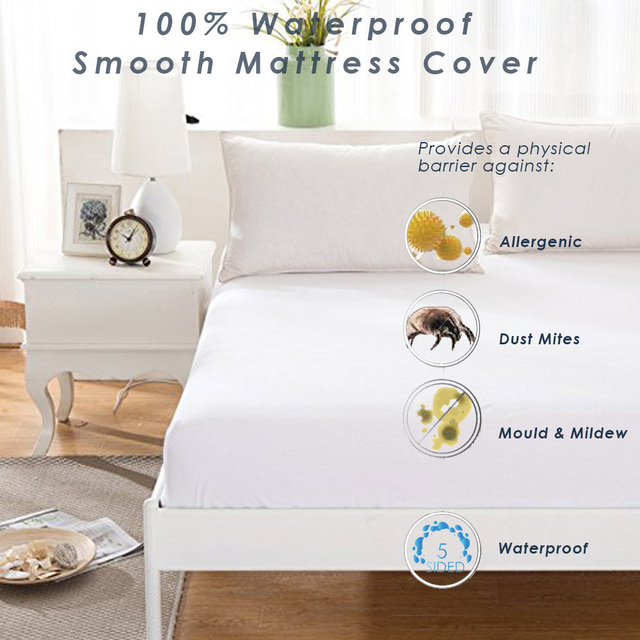 Summitkids 90*200cm Smooth Waterproof Mattress Protector Cover For Bed  Wetting Dust Mite Hypoallergenic Noiseless
