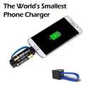 O Menor do mundo Carregador Para O Telefone Portátil de Emergência Usar Apenas precisa de 1 par de aa baterias fácil de transportar chaveiro para Androi