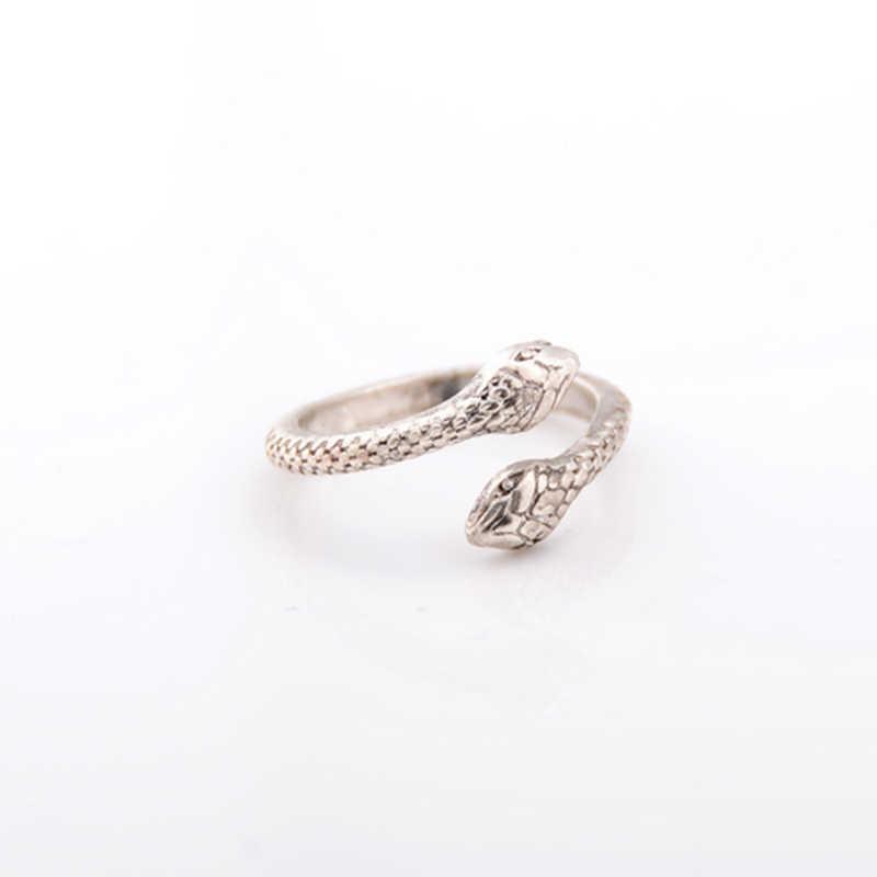8 unids/pack Boho Retro elefante serpiente azul piedra anillos suerte apilable Midi conjunto de anillos para fiesta de mujer