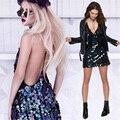 Sexy profundo cuello en v con lentejuelas dress backless slip cortos vestidos de la correa de espagueti 2017 del verano robe femme mini club del partido vestidos c59