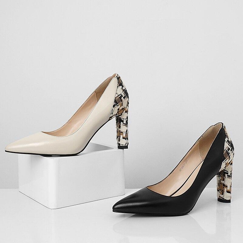 Dedo Mujeres Tacones Cuero Isnom Alta negro Nuevo Genuino Puntiagudo Bombas Pie Primavera Las Mujer Baja Zapatos Negro De Beige Del Calzado 2019 0Xqq5