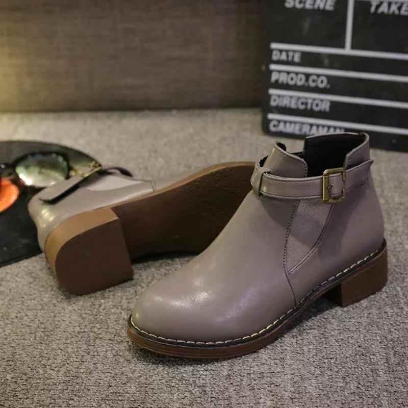 Litthing Mode Frauen Stiefeletten 2019 Herbst Weibliche Schuhe Frau Flache Mode Plattform Runde Kappe Schnalle Strap Solide Komfortable