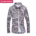 2016 Hot Sale Promotion Floral Regular Cotton Camisas Dropshipping Big Flower Long Sleeved Shirt Men's Embroidered Shirt,tx32