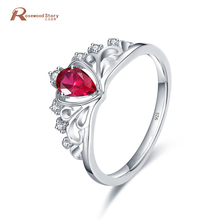 2017 July Birthstone Crown Rings For Women 925 Sterling Silver Jewelry Red Stone Crystal Ring Bijoux Vintage Anel Feminino