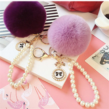 2019 Cute Girl Toy Rhinestone Ballerina Plush Rex Rabbit Hair Ball Fashion Adult Bag Decoration Pendant Angel Car Keychain