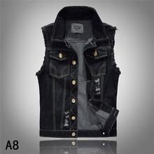 Mens Casual Ripped Hole Black Sleeveless Denim Vest , Jeans Coat For Man , Male Men Vintage Slim Destroyed Vests 4572