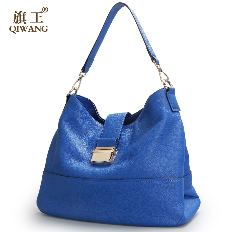 Qiwang Blue Soft Genuine Leather Women Hobo Bag Leather Blue Brand Leather Handbag Women Bucket Bag Chain Strap Bag new bag strap chain wallet handle purse acrylic resin strap chain strap replaced bag strap bag spare parts