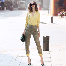 Two Piece Set 2 piece pants sets women clothing 2019 Brand Runway OL  lapel yellow shirt + plaid fashion