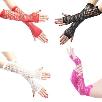 Women Punk Gothic Solid Fishnet Half Hand Fingerless Long Golves With Thumb Hole  Length Hollow Out Mittens Disco Party Bridal Gloves