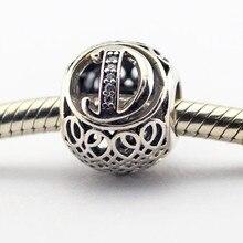 100% 925 se adapta a los encantos de Pandora pulsera bricolaje cuentas Vintage D con Clear Cubic Zirconia joyería del grano del encanto LE015-D