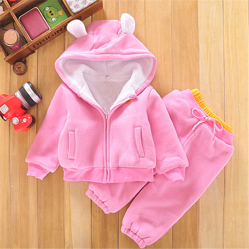 2018 Kid Autumn Winter Suit Lovely Bear Ears Zipper Toddler Hoodies Shirt+Pants Two Piece Pink Solid Toddler Hoodie Set Girl hoodie side zipper hit color hoodies мужская мода спортивный костюм мужская толстовка с белым hoody mens purpose tour hoodie