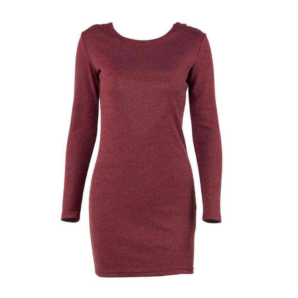 QPFJQD Spring Womens Knitted Dresses 2018 Solid Stretch Cross Bandage Backless Sexy Sheath Bodycon Dress Vestido Mini Short Robe