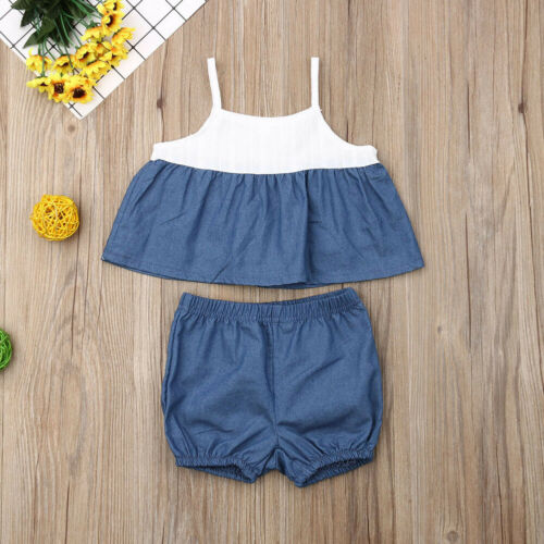 PUDCOCO Pants Tops Shorts Dress Outfits-Set Newborn Baby-Girls Support Vest Crop Kids