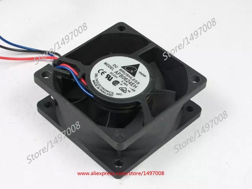 Free Shipping For DELTA  AFB0624EH -AB  DC 24V 0.36A 3-wire 3-pin connector 60mm 60X60X25mm  Server Square Cooling fan free shipping for delta afc0612db 9j10r dc 12v 0 45a 60x60x15mm 60mm 3 wire 3 pin connector server square fan