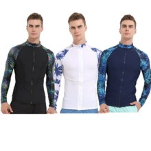 Men Swimwear Long Sleeve Surf Tops with Front Zipper Rash Guard Wetsuit zipper front backpack with tassels