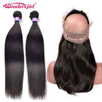 360 Lace Frontal With Bundle Remy Human Hair Brazilian Straight Hair Bundles With Closure Wonder girl 360 Frontal With 2 Bundles