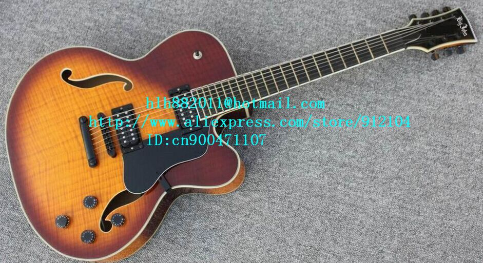 free shipping new Big John 7 strings hollow electric guitar in orange with mahogany body made in China LL13
