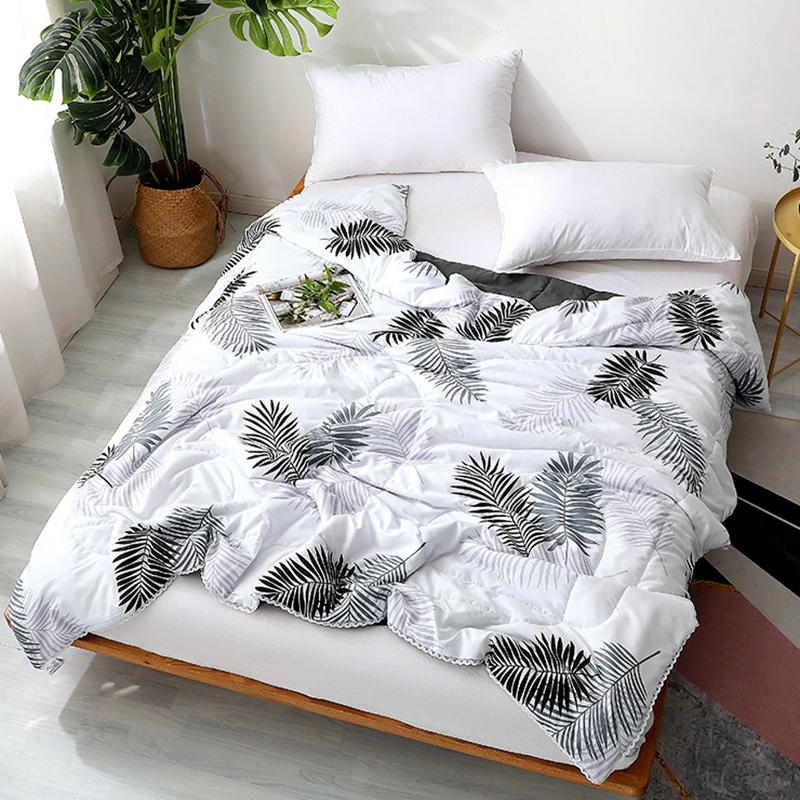 4 Size Leaves Comforter Summer Solid Thin Quilt Air Condition Quilted Quilts Cover Polyester Fabric For Children Single Adult #s