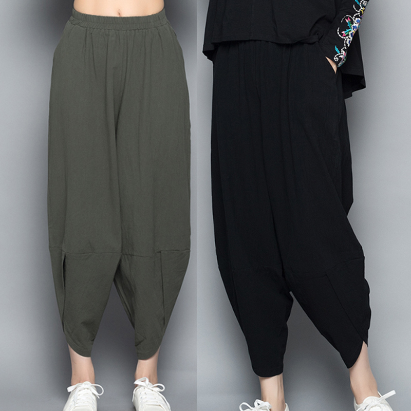 0655 Spring Summer Bloomers Pants Women Elastic Waist Cotton Linen Harem Pants Female Casual Trousers Ladies Loose Split Joint in Pants amp Capris from Women 39 s Clothing