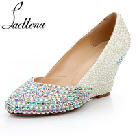 Pearl and Color Diamond Shoes Women Pearl Wedges Shoes Women's Crystal Shoes