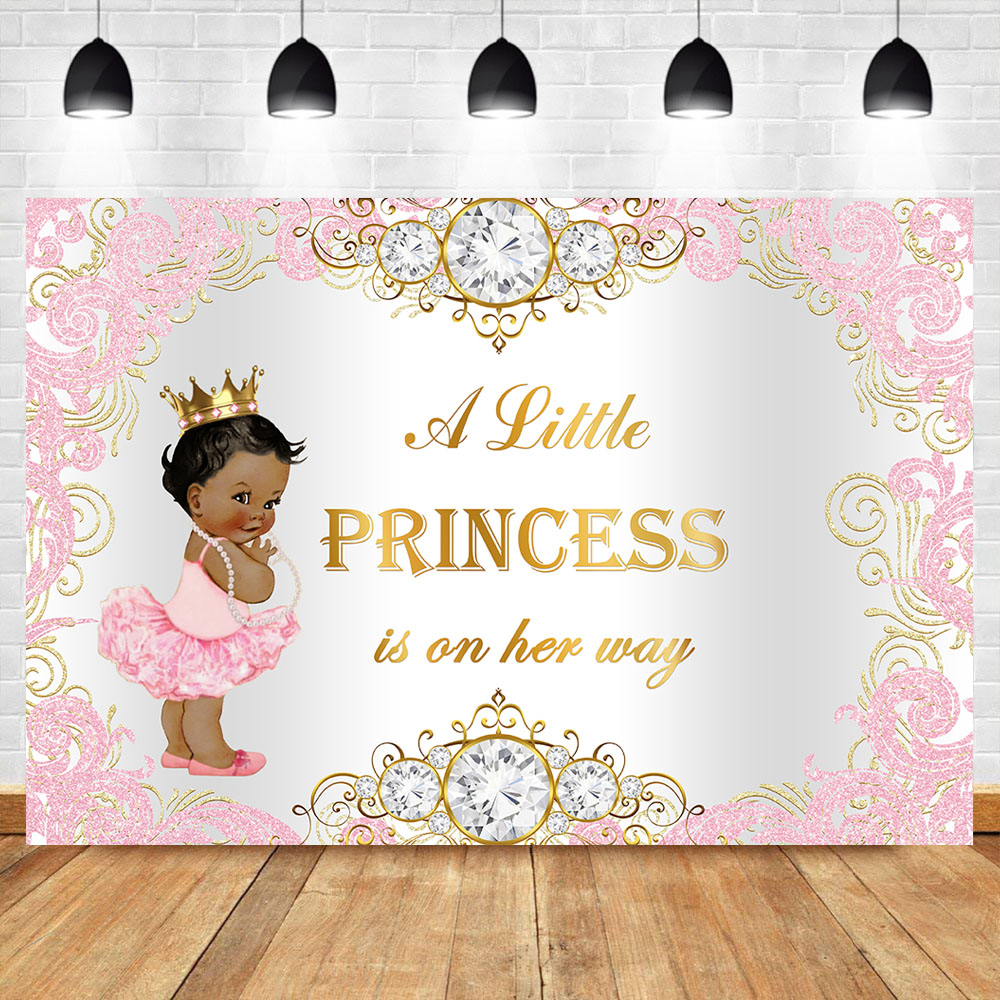 Royal Princess Baby Shower Backdrop Pink Silver Diamond Baby Shower Background Girl Baby Shower Party Banner Decoration Supplies Background Aliexpress