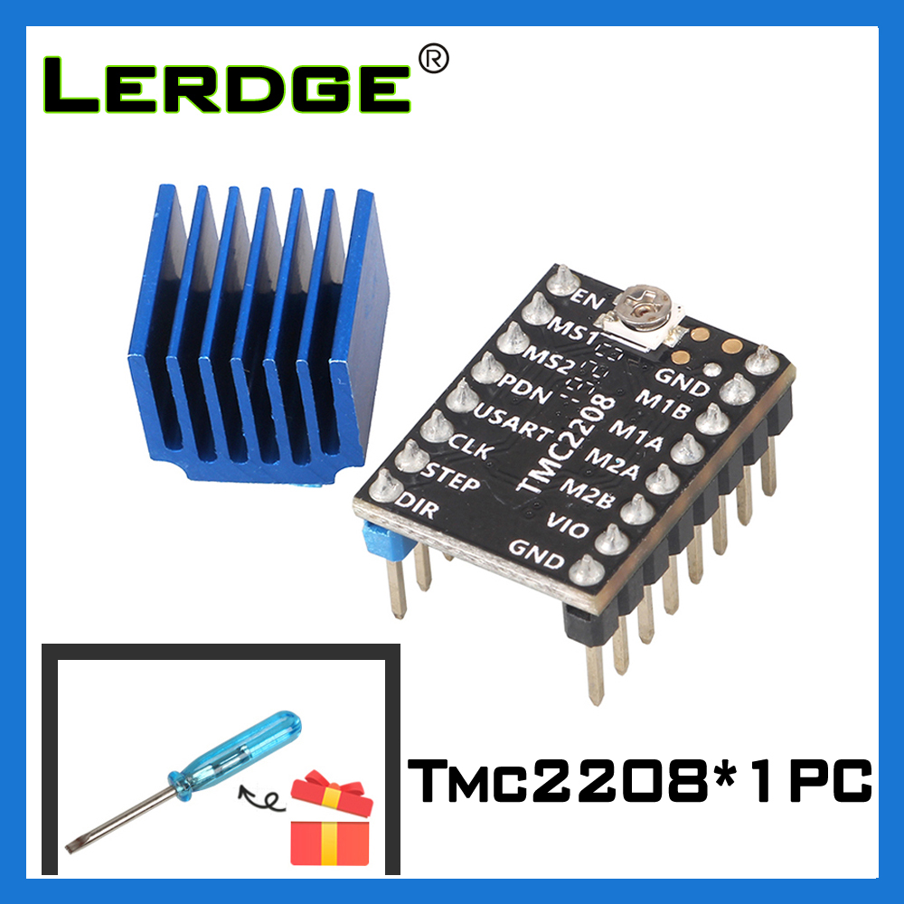 LERDGE TMC2208 Stepper Motor Driver 3D Printer Parts Stepstick Super Silent With New Heat Sinks Current 1.4A Ultra-silent V2.0