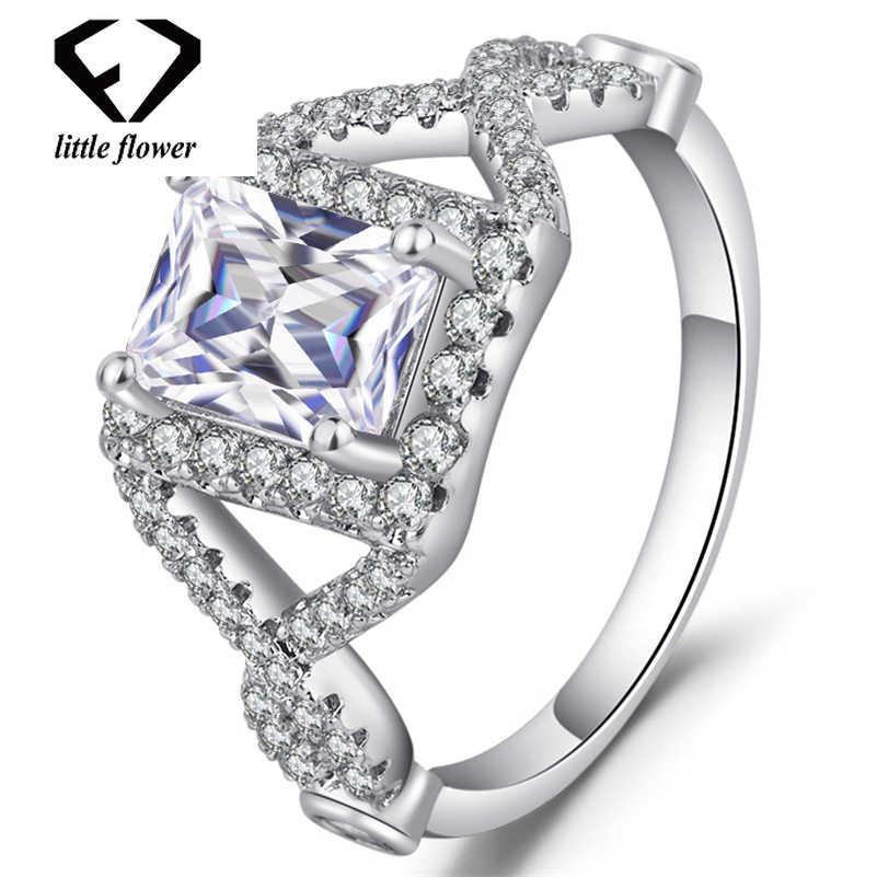 14 k สีขาวทองเพชรแหวนสแควร์เพอริดอท Bague Etoile อัญมณี Bizuteria 14 k และเพชรแหวนผู้หญิง