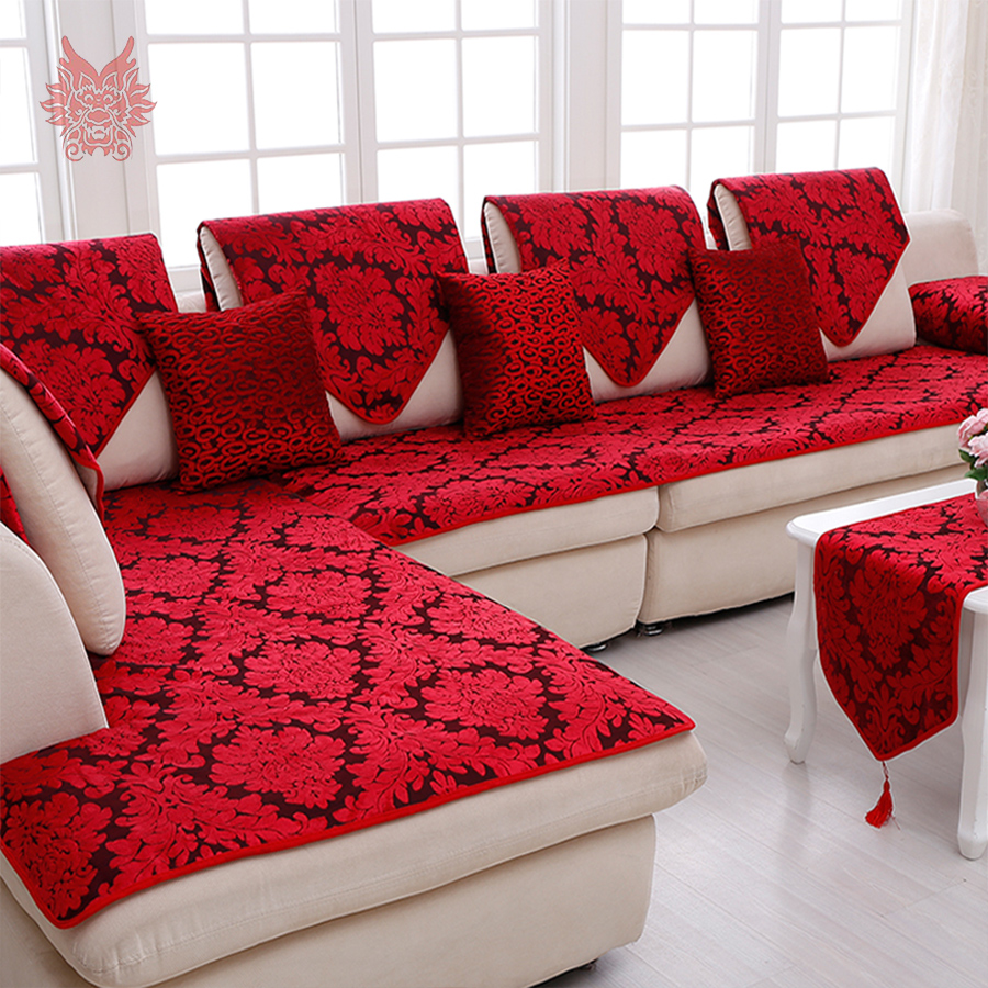 Classic red blue floral jacquard terry cloth sofa cover plush chair ...