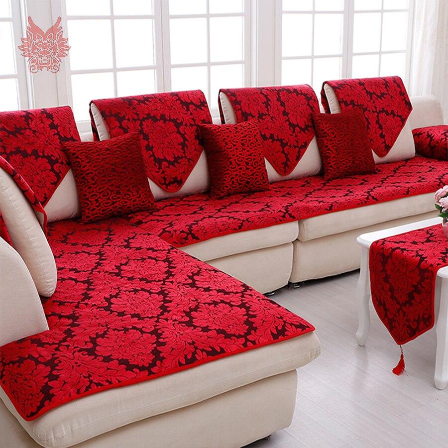 Classique rouge bleu floral jacquard tissu éponge canapé couverture en peluche chaise housses canape meubles sectionnel couverture SP3640 livraison gratuite