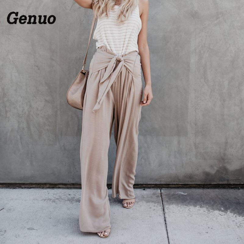 Genuo casual bandage   pants   Women summer 2018 loose Stretchy high waist drawstring Bowknot Bandage   Wide     Leg     Pants   Long Trousers