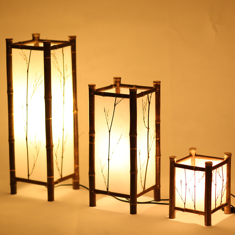 LED Chinese Style Vintage Lamp Bamboo Light Indoor Lighting Home Decorative Design Lantern E27 Japanese Bamboo Floor Lamp Hotel new arrival modern chinese style bamboo wool lamps rustic bamboo pendant light 3015 free shipping