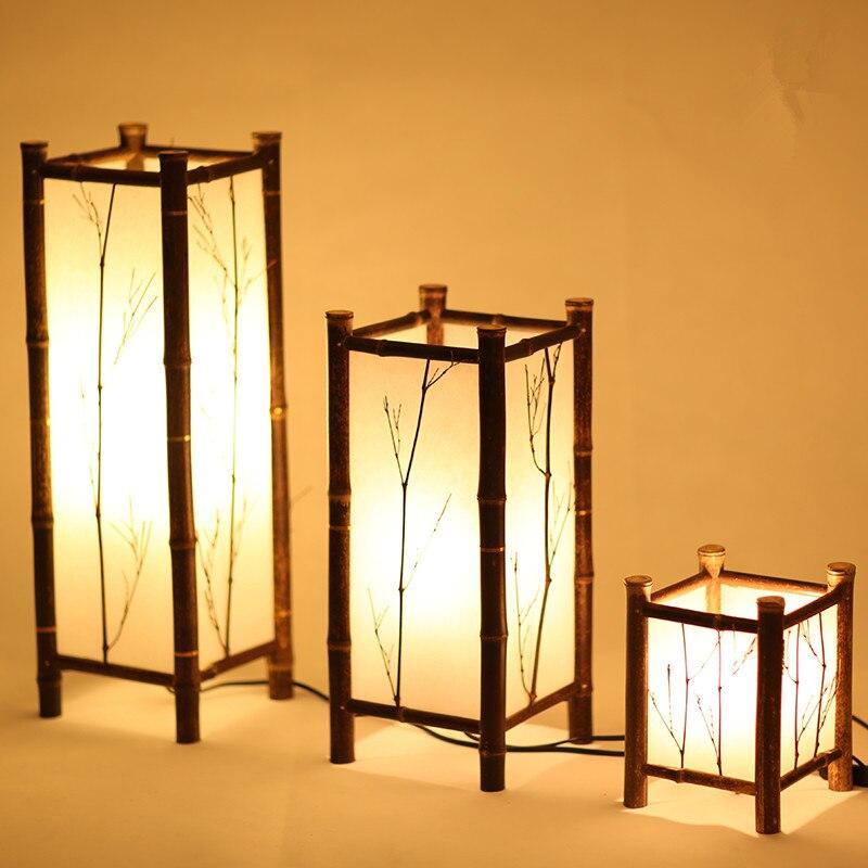 Lampa Led Chiński Styl Vintage Bambus Oświetlenie Domu