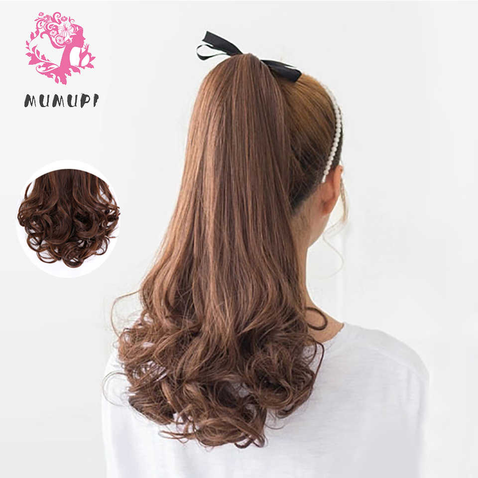 MUMUPI Long Wavy Real Natural Ponytail Clip in tail Hair Extensions Wrap Around on Synthetic Hair Piece for human