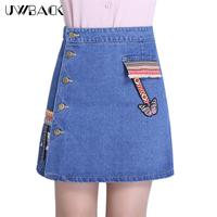 Uwback Ethnic Style Denim Skirt Buttons Women Summer Embroidery Skirts 2017 New Female Mini Jeans Skirt