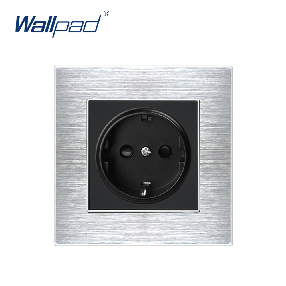 EU 2 Pin German Socket Wallpad Luxury Satin Metal Panel Electric Wall Power Socket Electrical Outlets For Home Schuko