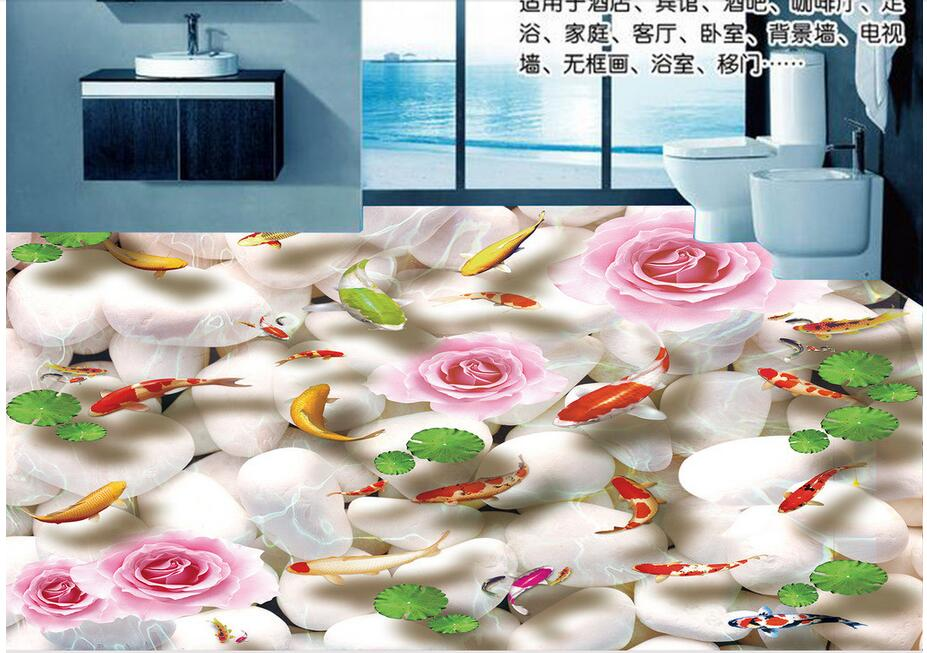 3d pvc flooring custom photo bedroom waterproof floor Pebbles carp lotus leaf painting 3d wall murals wallpaper for walls 3 d