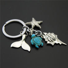 1PC Blue Turtle Beads Starfish Conch Fish Tail Keychain Diy Handmade Ocean Beach Jewelry(China)
