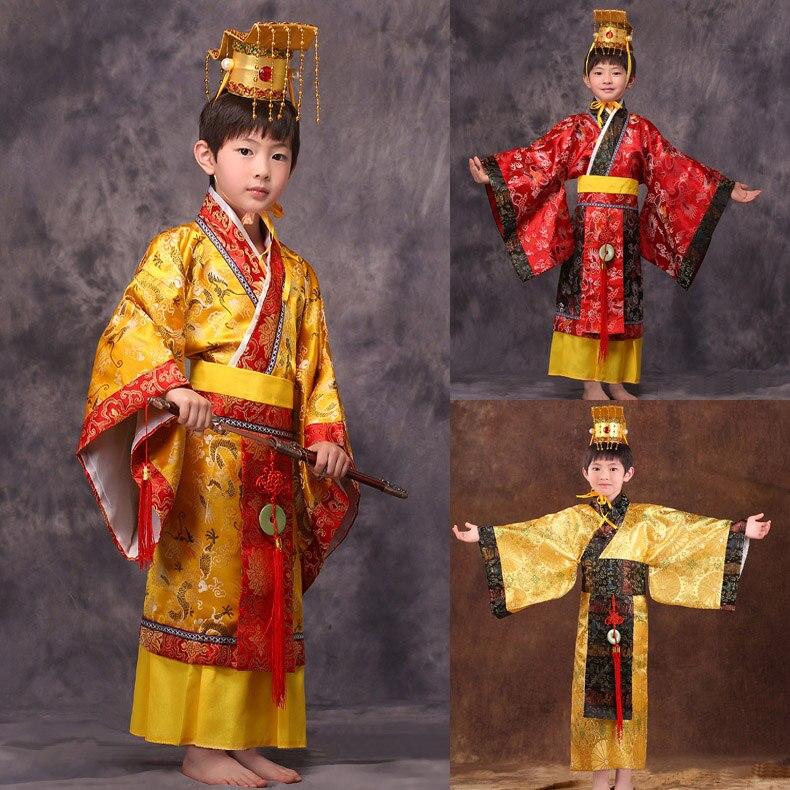Anciennes garçons chine chinois empereur costume chapeau + robe empereurs prince robe vêtements costumes lelouch empereur