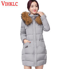 Women's Winter Jacket Women Long Parkas 2017 New Female Faux Fur Collar Hooded Cotton Warm Coat For Women Anorak Manteau A782(China)