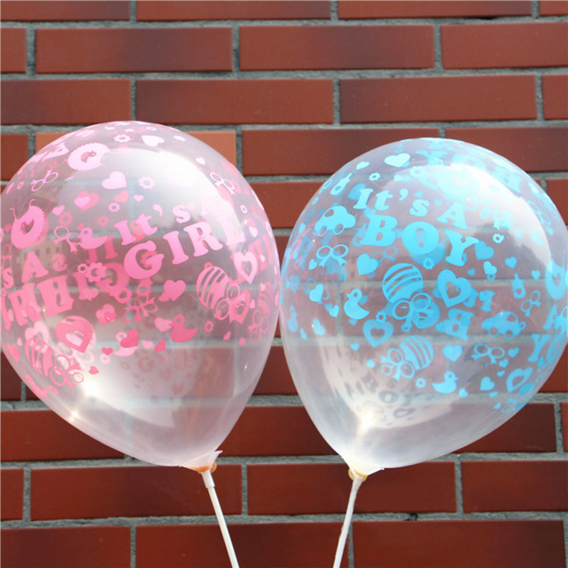 20pcs/lot 12inch It is Boy It is Girl Pattern Happy Birthday Decoration Balloon Clear Pink Blue Latex Balloons for Kids Baby