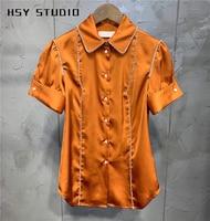 【HSY Studio】 2019 summer new fashion handmade diamond set tunic women blouse trendy puff short sleeve ladies shirt